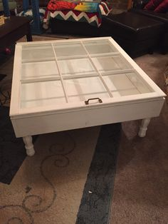 Shadowbox Coffee Table Old Window For A Top Main Color Is White With Black Legs And Stained Interior Dimensions 39 27x17 About 4