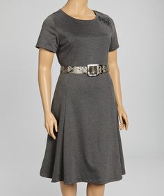 Take a look at this Charcoal Belted Dress - Plus on zulily today!