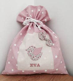 Personalised Bird Drawstring Bag by CocoBlueDesign on Etsy