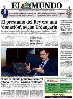 Los Titulares y Portadas de Noticias Destacadas Españolas del 3 de Septiembre de 2013 del Diario El Mundo ¿Que le pareció esta Portada de este Diario Español?