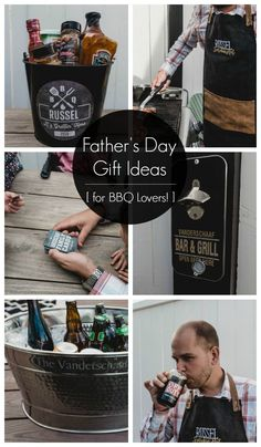 Great personalized gifts for BBQ Lovers! Love the idea to fill a gift basket or bucket with spices, sauces, aprons & more for Father's Day! Diy Father's Day Crafts, Father's Day Diy, Homemade Fathers Day Gifts, Fathers Day Crafts, Personalized Gifts, Birthday Bbq, Father Birthday, Gift Crates, Gifts
