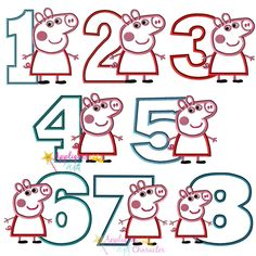 Peppa Pig Number Applique Set by Appliques With Character