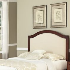 @Overstock - Create distinctive style with this modern headboard which features mahogany solids and cherry veneers warmed with a neoteric seven step Cherry finish and an oyster inset.  This headboard can be used in conjunction with most Full/Queen Bed frames.http://www.overstock.com/Home-Garden/Duet-Queen-Camelback-Microfiber-Inset-Headboard/7105245/product.html?CID=214117 $433.99