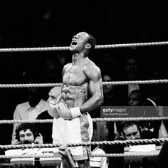 Chris Eubank of Great Britain celebrates his 9th round victory over Nigel Benn to retain the WBO Middleweight championship in Birmingham on 18th November 1990.