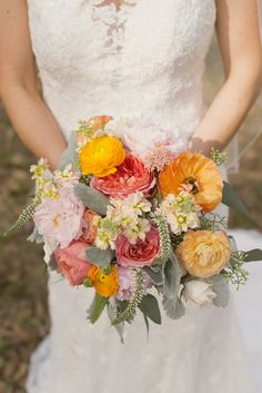 LOVE these colors! maybe with less pink? // bouquet by Bramble and Bee