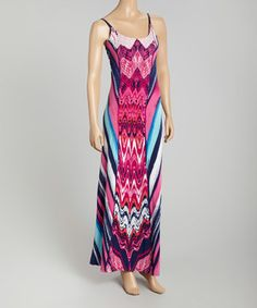 This Fuchsia & Navy Tribal Lace-Back Maxi Dress by STILLETTO'S is perfect! #zulilyfinds