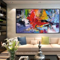 Abstract painting fullcolor relieve Paint on drop cloth Famous Contemporary Artists, Bedroom Art, Home Decor Wall Art, Large Art, Painting Inspiration, Modern Art, Abstract Art, Art Pieces, Decoration