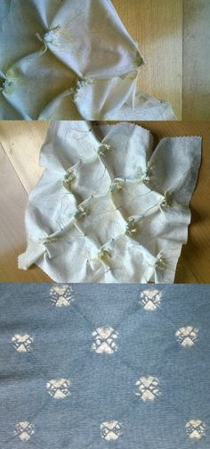 Process for creating a small decorative spot in shibori. On a diagonal grid pinch and fold the fabric and stitch two short rows of stitches. Pull up and dye. By Townhill Studio.