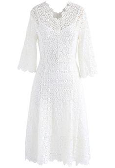 Blossom Remembrance Crochet Dress in White - New Arrivals - Retro, Indie and Unique Fashion