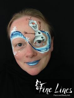 Olaf Kinderschminken - Olaf face painting Eiskönigin Kinderschminken - Elsa Crown face painting, Frozen. Fine Lines Face and Body Art, Leipzig, Germany. Kinderschminken. Face Painting. Body painting. Belly painting. Bauchbemalung.