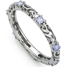 AWESOME 0.27 CARAT TW (7 PCS) GENUINE TANZANITE PLATINUM OVER 0.925 STERLING SILVER RING