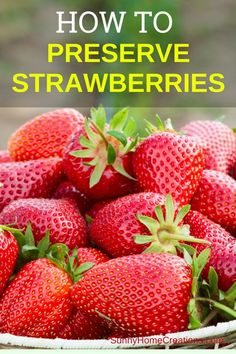 How to freeze strawberries and other ways to preserve fresh strawberries from your garden harvest or store bought. Brilliant ideas on ways to use up your strawberries. How To Store Strawberries, Freezing Strawberries, Frozen Strawberries, Strawberry Preserves, Fruit Preserves, Strawberry Fruit, Frozen Meals, Harvest Time, Edible Garden