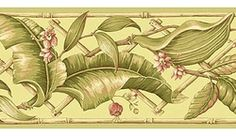 879245 Evening Tropics Lattice Leaves Wallpaper Border Green GE57112b <br> CLEARANCE!! QUANTITIES LIMITED!!