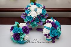 3 Piece Set Round Silk Flower Bridal Wedding Bouquet In Purple Aqua Teal