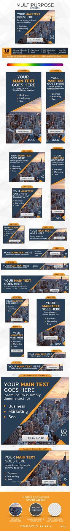 Multipurpose Banners Template #design #ads #web Download: http://graphicriver.net/item/multipurpose-banners/12482725?ref=ksioks