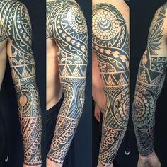 Oksana Weber | Black and grey Polynesian tattoo sleeve