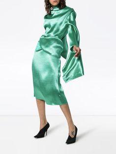 Christopher Kane tie-back satin dress - Buy Online - Mobile Friendly, Fast Delivery Christopher Kane, Tie Backs, Dress Backs, Fashion Calendar, Shops, British Fashion Awards, Open Back Dresses, Green Satin, Vogue Fashion