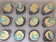 Sponge bob cupcakes Sponge Bob Cupcakes, Birthday Cupcakes, Spongebob, Party, Desserts, Food, Anniversary Cupcakes, Tailgate Desserts, Deserts
