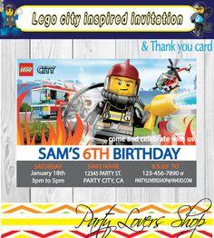 Custom Lego City Police Firemen Birthday Invitation Jpg 236x262 Party Invitations