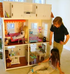 Another American Girl doll house design. I want Brad to build this for Maddie! American Girl Storage, American Girl House, Ag Doll House, Doll Houses, Doll Furniture, Dollhouse Furniture, Ag Dolls, Girl Dolls, Diy Doll Closet