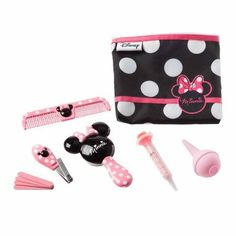 Help your little mousekeeter look and feel her very best with this grooming kit featuring Minnie Mouse. The ten piece set includes a brush with extra-soft bristles and easy-grip handle, a dual-density comb for both thick or thin and wet or dry hair, fold-up nail clippers sized for child's smaller nails, 4 emery boards, a medicine dropper with easy-to-read dosage markings, a nasal aspirator with small, flexible tip all in a convenient carrying case adorned in Minnie's signature style.