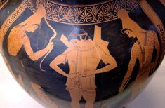 "oplite putting his armor on, surrounded by two Scythian warriors. Inscriptions: ΘΟΡΥΚΙΟΝ (""armored"") for the hoplite, ΕΥΘΥΒΟΛ[Ο]Σ (""blow""?) for the Scythian archer (right). Side A of an Attic red-figure belly-amphora. From Vulci."
