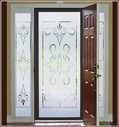 Ritz etched glass window film door panel and coordinating frosted vinyl decals for doors add privacy and elegance planetlyrics Gallery