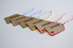 Bright Rainbow Gift Tag Set- Set of 12 Hand Stamped Gift Tags / Holiday Gift Tags / Favor Tags / Wedding Tag / Baby Shower Tag / Party Favor. $10.00, via Etsy.
