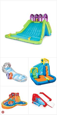 Backyard Water Parks, Cool Pool Floats, Inflatable Water Park, Bouncy House, Movie Night Party, Pool Toys, Water Play, Baby Kind, Water Slides