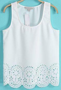 - la camiseta sin mangas es blanca - la camiseta sin mangas cuesta veinte dólares