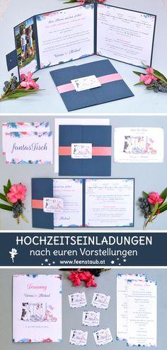 Ihr heiratet und seid auf der Suche nach kreativen, einzigartigen und  individuellen Einladungskarten für eure Hochzeit? Dann seid ihr bei uns  richtig. Wir entwerfen ausgefallene Hochzeitseinladungen nach euren  Vorgaben. So wie hier in blau und rosa mit den Hunden des Brautpaares im Mittelpunkt. Die Hunde wurden von einem Foto abgezeichnet, die Einladung als  Pocketeinladung umgesetzt. #feenstaub #hochzeit #hochzeitseinladung #einladungskarten #hund Save The Date, Wedding Invitations, Cards, Pink, Wedding Anniversary, Pocket Invitation, Fancy Wedding Invitations, Elegant Wedding Invitations, Map Invitation
