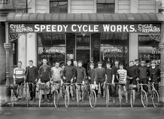 "Christchurch, New Zealand, circa ""Jack Suckling (center right with watch chain) and cyclists outside Speedy Cycle Works, Manchester Street. Champion cyclist Phil O'Shea is third from right."" Photo by Adam Maclay Old Bicycle, Bicycle Shop, Old Bikes, Velo Vintage, Vintage Cycles, Cycling Art, Cycling Bikes, Mtb, Upcycle"