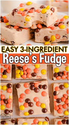 Smooth & creamy Easy Reese's Fudge made with just 3 simple ingredients! Vanilla frosting & peanut butter chips combine for this easy Reese's Pieces Fudge! #fudge #reeses #easyfudge #peanutbutter #candy #easyrecipe from BUTTER WITH A SIDE OF BREAD Egg Desserts, Chocolate Desserts, Just Desserts, Delicious Desserts, Dessert Recipes, Yummy Food, Recipes Using Fruit, Fun Easy Recipes, Fall Recipes