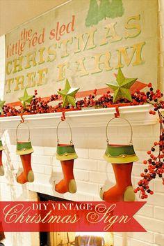 DIY Vintage Christmas Sign