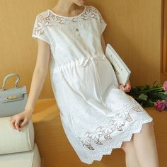 Loose Cotton And Lace Maternity Dress