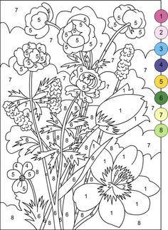 Color By Numbers Flowers Coloring Pages - Coloring Ideas Adult Color By Number, Color By Number Printable, Color By Numbers, Paint By Number, Number Art, Flower Coloring Pages, Coloring Book Pages, Printable Coloring Pages, Coloring Sheets
