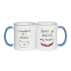 Dont Go Bacon My Heart His And Hers Mug Set Two Sides Printed Mug  Funny Mug  11 Oz Coffee Mug Ceramic Mug Blue  Perfect Gift >>> This is an Amazon Associate's Pin. For more information, visit this Amazon Affiliate link.