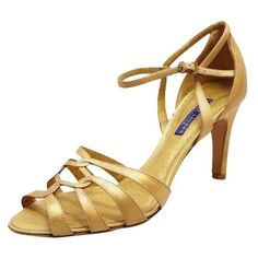 Pre-Owned Ralph Lauren  Label Phyliss Vintage Calf Strappy 9 Gold... ($262) ❤ liked on Polyvore featuring shoes, sandals, ralph lauren shoes, purple high heel shoes, high heeled footwear, high heel sandals and gold high heel shoes
