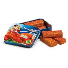 Erzi wooden play food fish fingers in a tin