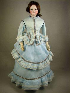 "Vtg Dimity Cotton 3pc Walking Suit Dress for 18"" French Fashion Lady Doll No.261 made by Carol H. Straus, 2015. Jumeau, FG carolstraus.com #silkandtrim SOLD"
