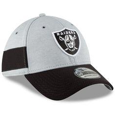 1e7d2caa9b7 Oakland Raiders New Era 2018 NFL Sideline Home Official 39THIRTY Flex Hat –  Heather Gray