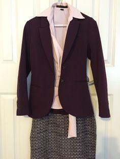 Texture skirt, pink wrap collar shirt, maroon blazer