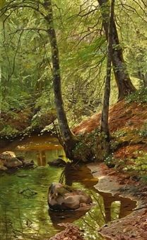 A forest stream By Peder Mork Monsted ,1895