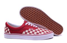 Vans Checkerboard Authentic Classic Red Off White check Mens Shoes #Vans
