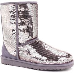 UGG Australia Women's Classic Short Sparkles Heathered Lilac Boots ($170) ❤ liked on Polyvore featuring shoes, boots, ankle booties, ankle boots, purple, short booties, shearling lined boots, purple booties, patent leather booties and short heel booties
