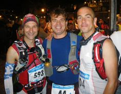 At the start of Gran trail Peñalara 2013 110k: Casey Morgen (right) with Mayayo (center) and Mikel Leal (left)