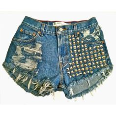 Studded High Waisted Cut Off Jean Shorts - Vintage Levi - Distressed & Frayed - Women Teen Girls - Pyramid Studs ($105) found on Polyvore