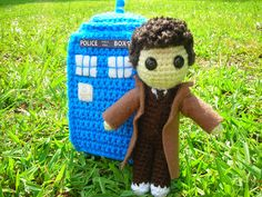 Crocheted Tardis & 10th Dr