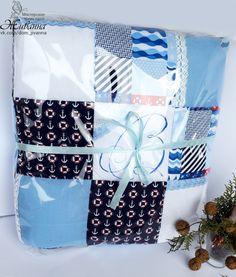 """Лоскутное одеяльце """"Матрос"""" в каталоге Для дома на Uniqhand - #одеяло_для_новорожденного, #одеяло_детское, #подарок_на_любой_случай, кружево"""