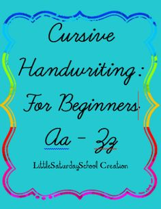*******FREE********* Little Saturday School: Cursive Handwriting!! and crossing the middle line? Beginners guide to lowercase cursive